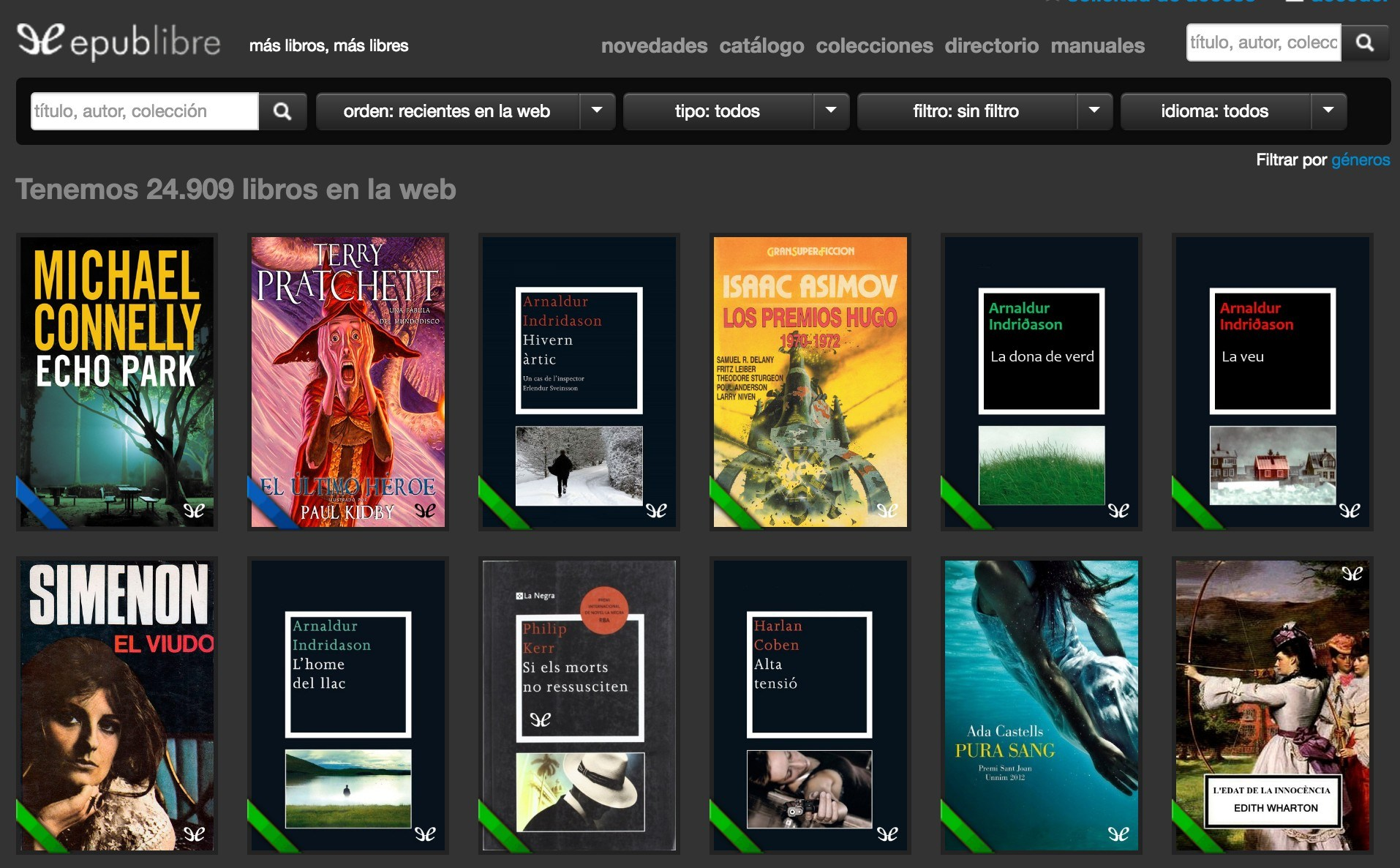 Páginas para descargar ePubs